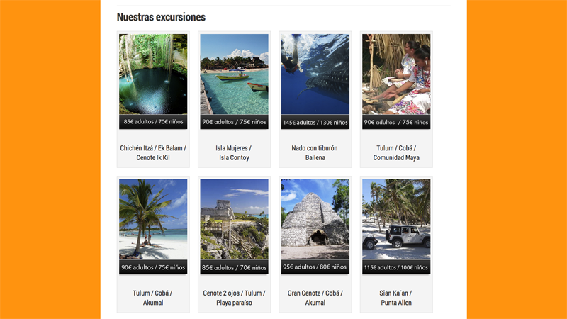 Diseño web de Experiencias Riviera Maya