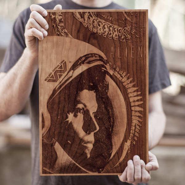 grabados con laser sobre madera