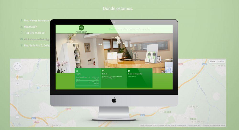 Diseño de la página web para Clínica la Paz Oviedo