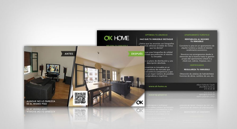 Tarjetas de visita – Diseño Logotipo y Díptico para Ok-Home
