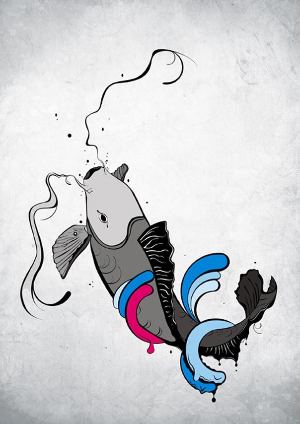 Ilustración de Carpa Koi