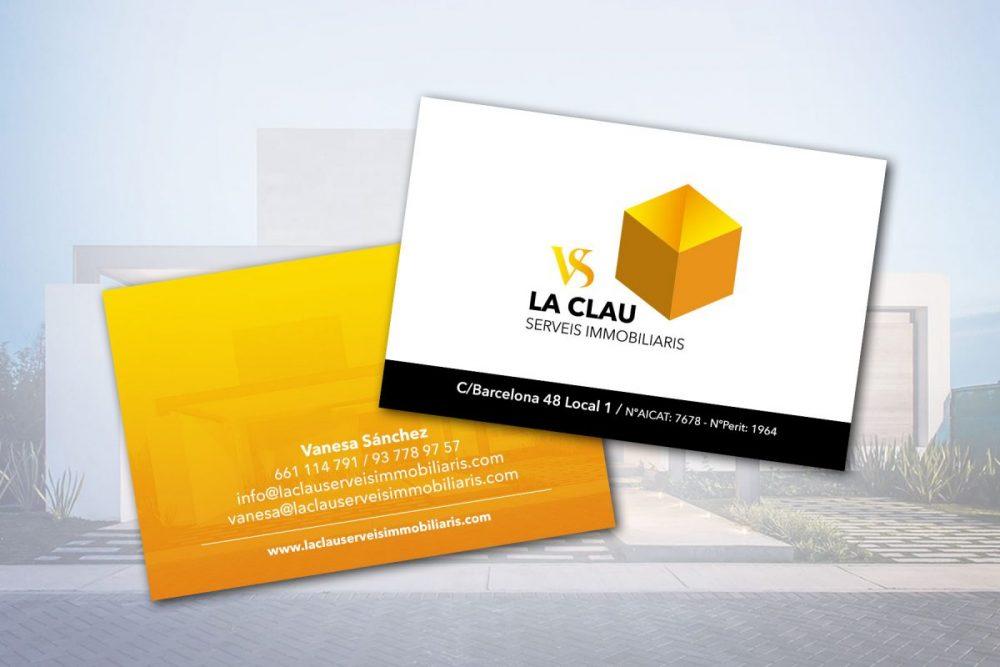 Diseño de Logotipo y de tarjetas para la Immobiliaria La Clau VS