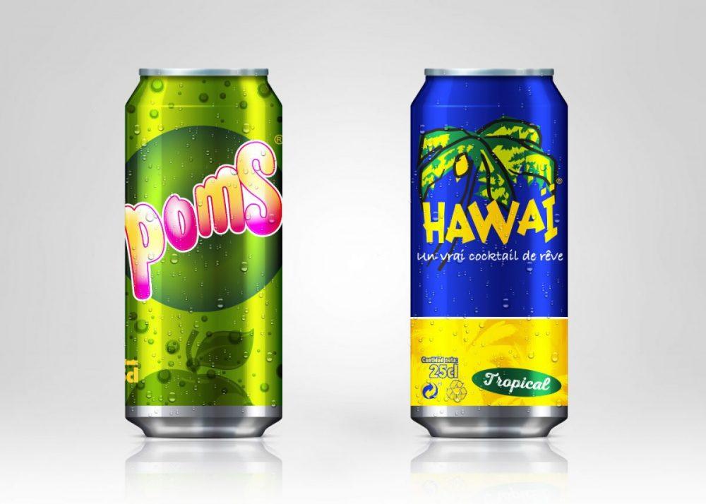Diseño de latas para POMS y HAWAI en Viladecans